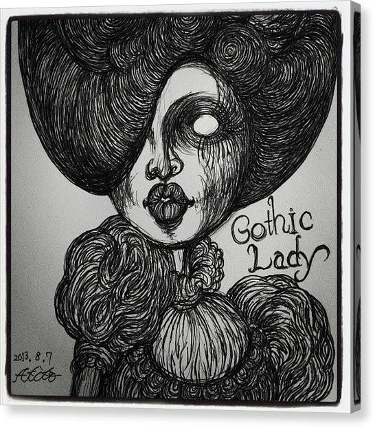 Gothic Art Canvas Print - Gothic Lady by Akiko Okabe