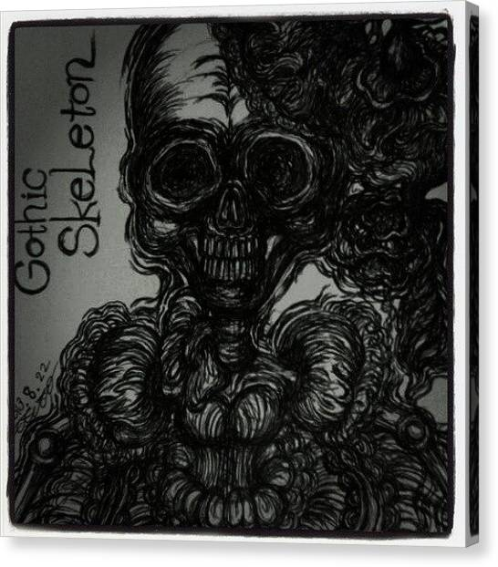 Gothic Art Canvas Print - Gothic Skeleton by Akiko Okabe