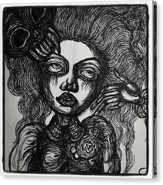 Gothic Art Canvas Print - Gothic Skull Lady by Akiko Okabe
