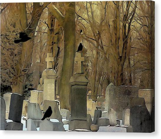 Ravens In Graveyard Canvas Print - Gothic Splash by Gothicrow Images