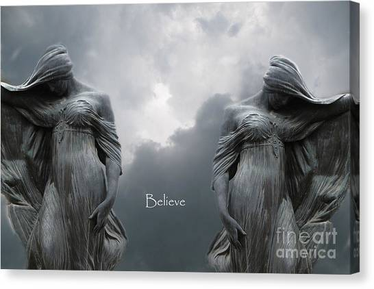 Angel Art By Kathy Fornal Canvas Print - Gothic Surreal Female Figures Haunting Inspirational Spiritual Art - Believe by Kathy Fornal