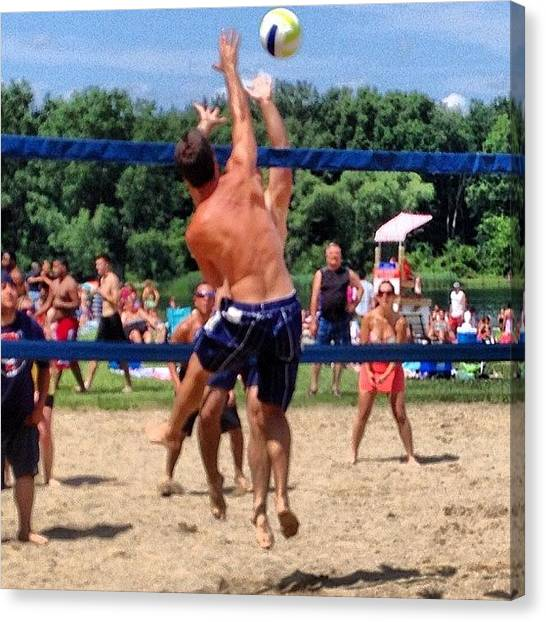 Volleyball Canvas Print - Gotta Get Some More Vball In While by Mike Bennett