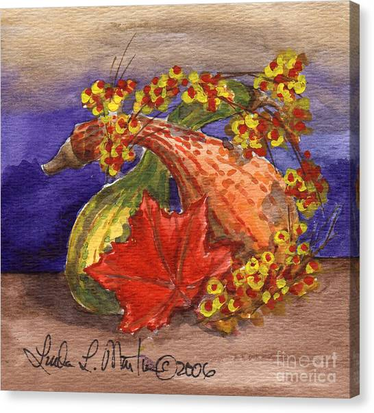 Bittersweet Canvas Print - Gourds Still Life by Linda L Martin