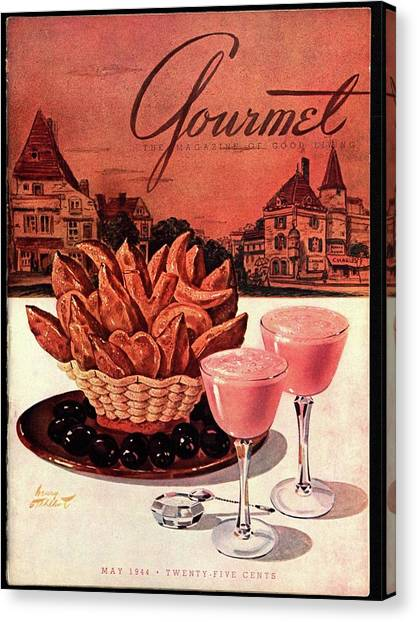 Smoothie Canvas Print - Gourmet Cover Featuring A Basket Of Potato Curls by Henry Stahlhut