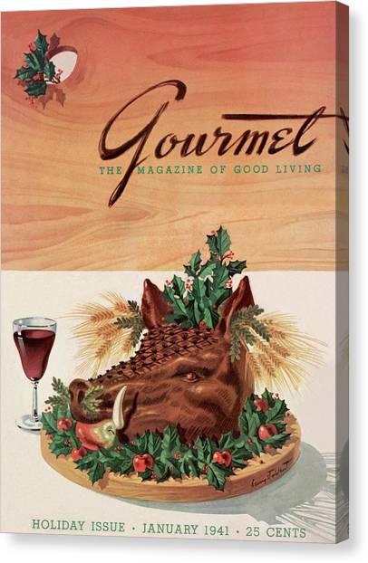 Gourmet Cover Featuring A Boar's Head Canvas Print