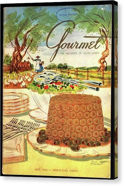 Gourmet Cover Featuring A Buffet Farm Scene Canvas Print
