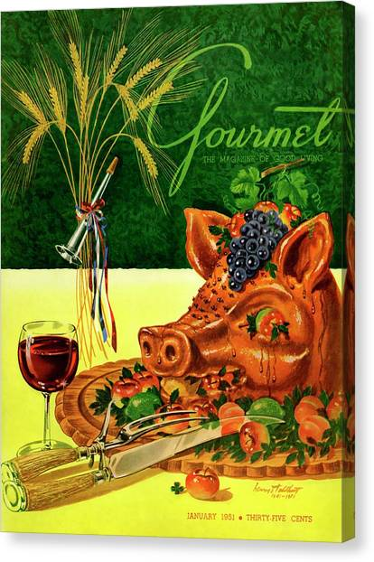 Gourmet Cover Featuring A Pig's Head On A Platter Canvas Print