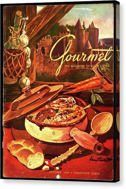Gourmet Cover Featuring A Pot Of Stew Canvas Print