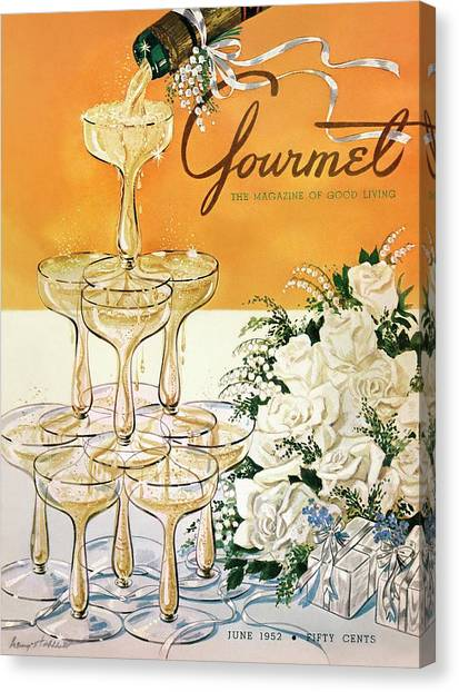 Gourmet Cover Featuring A Pyramid Of Champagne Canvas Print
