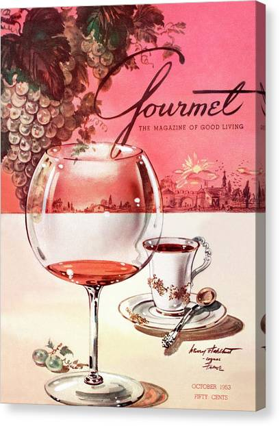 Cognac Canvas Print - Gourmet Cover Illustration Of A Baccarat Balloon by Henry Stahlhut