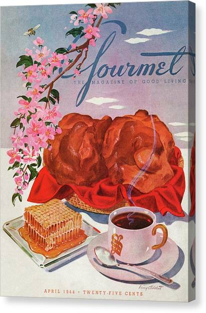 Gourmet Cover Illustration Of A Basket Of Popovers Canvas Print