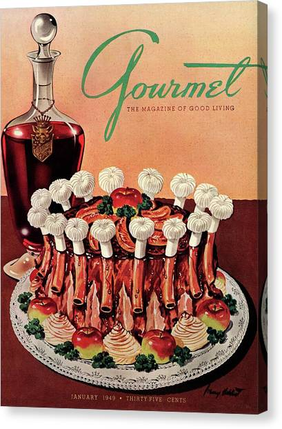 Gourmet Cover Illustration Of A Crown Roast Canvas Print