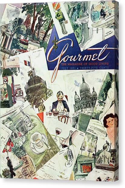 Gourmet Cover Illustration Of Drawings Portraying Canvas Print