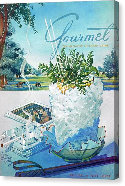 Ashes Canvas Print - Gourmet Cover Illustration Of Mint Julep Packed by Henry Stahlhut