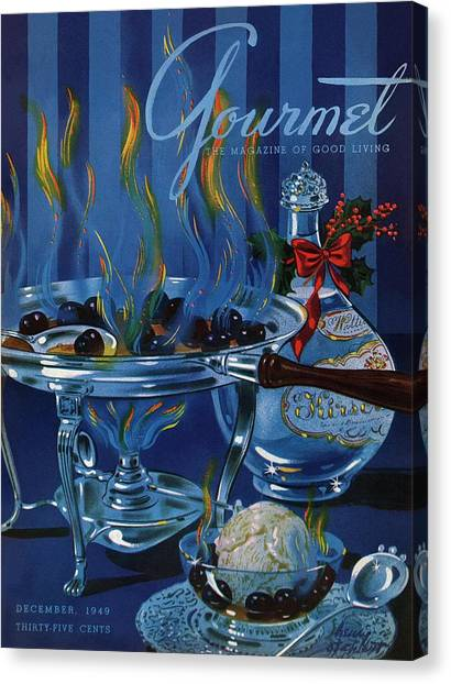 Gourmet Cover Of Cherry Flambe Canvas Print by Henry Stahlhut