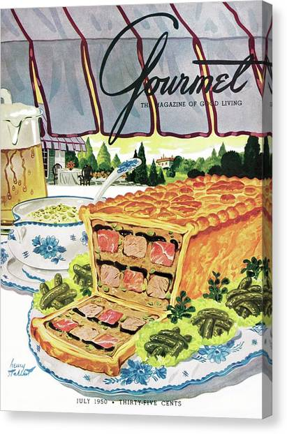 Gourmet Cover Of Pate En Croute Froid Canvas Print by Henry Stahlhut