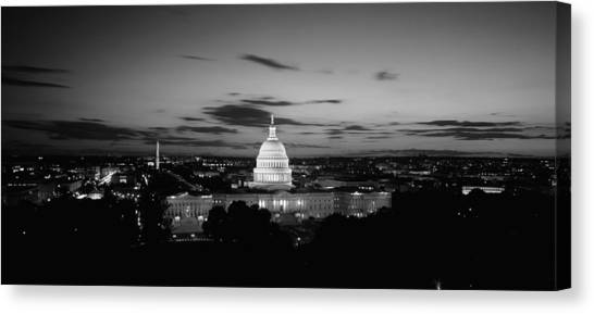 Capitol Building Canvas Print - Government Building Lit Up At Night, Us by Panoramic Images