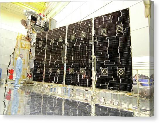 Satellite Canvas Print - Gpm Rainfall Satellite Assembly by Nasa