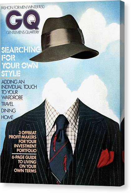 Salvador Dali Canvas Print - Gq Cover Featuring A Clothes On Top by  Victor Valla & Eric Meola
