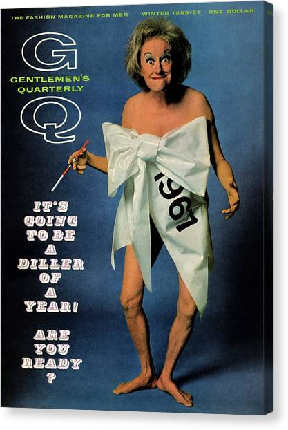Gq Cover Featuring Comedienne Phyllis Diller Canvas Print by Carl Fischer