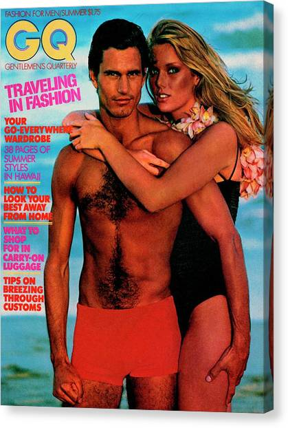 Gq Cover Featuring Patti Hansen And A Male Model Canvas Print by Barry McKinley