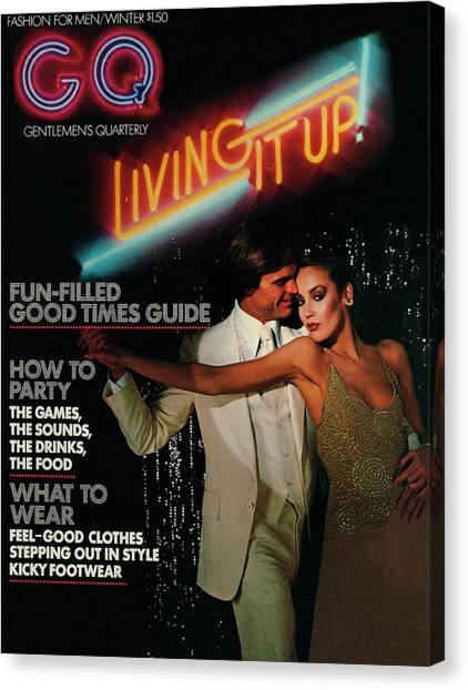 Gq Cover Of A Couple In Disco Setting Canvas Print by Chris Von Wangenheim