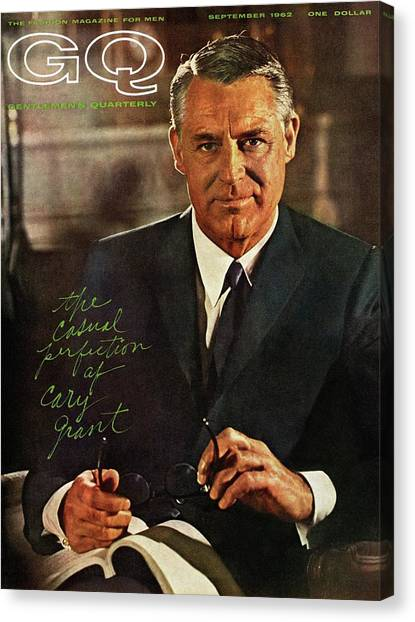 Gq Cover Of Actor Carey Grant Wearing Suit Canvas Print by Chadwick Hall