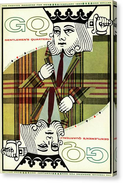 Plaid Canvas Print - Gq Cover Of An Illustration Of King Playing Card by Greenberg & Smith