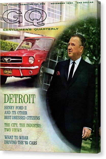 Gq Cover Of Henry Ford II And 1965 Ford Mustang Canvas Print by Richard Nones