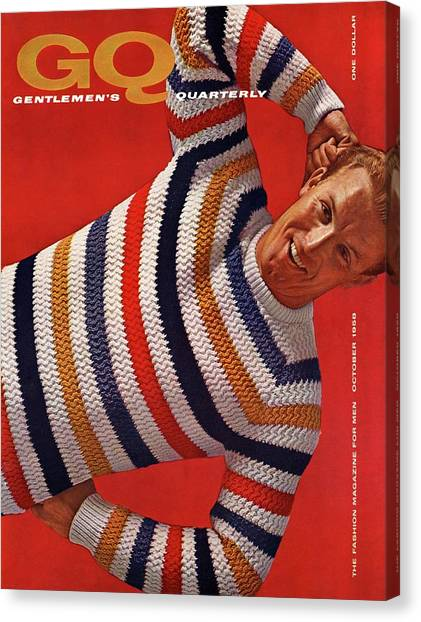Gq Cover Of Man Wearing Striped Sweater Canvas Print by Leonard Nones
