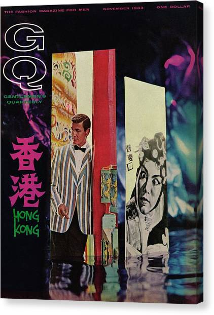 Gq Cover Of Model In Hong Kong Canvas Print by Richard Ballarian