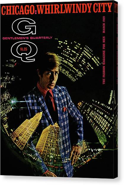 Gq Cover Of Model Wearing A Louis Roth Jacket Canvas Print
