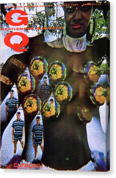 Gq Cover Of Polynesian Dancer Inset With Male Canvas Print by Carl Fischer