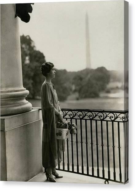 Grace Coolidge By The Washington Monument Canvas Print