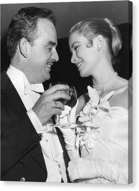 Grace Kelly Canvas Print - Grace Kelly Toasts With Husband by Retro Images Archive