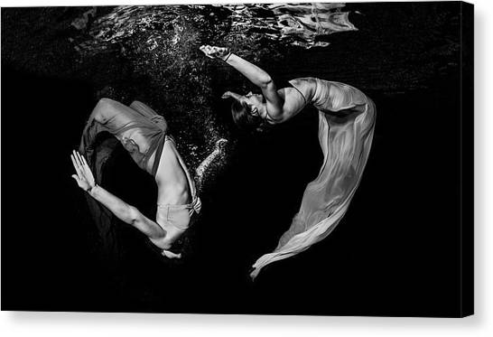 Acrobatic Canvas Print - Grace Underwater by Ken Kiefer