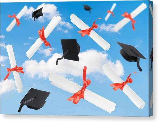 Graduation Canvas Print - Graduation Caps And Scrolls by Amanda Elwell