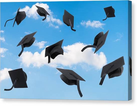 Graduate Degree Canvas Print - Graduation Mortar Boards by Amanda Elwell