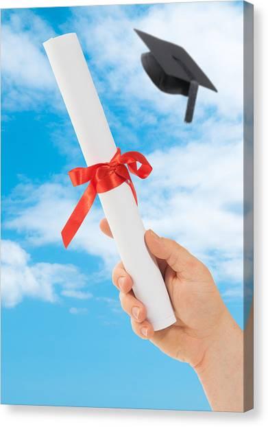 Graduate Degree Canvas Print - Graduation Scoll And Cap by Amanda Elwell