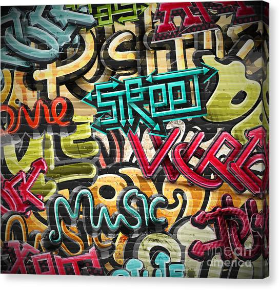 Writing Canvas Print - Graffiti Grunge Texture. Eps 10 by Lonely