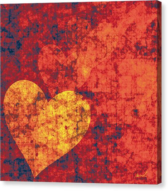 Valentines Day Canvas Print - Graffiti Hearts by The Art of Marsha Charlebois