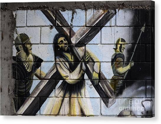 Graffiti Walls Canvas Print - Graffiti Passion Depiction Mexico by Bob Christopher