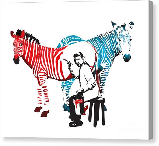 Canvas Print featuring the digital art Graffiti Print Of Rembrandt Painting Stripes Zebra Painter by Sassan Filsoof