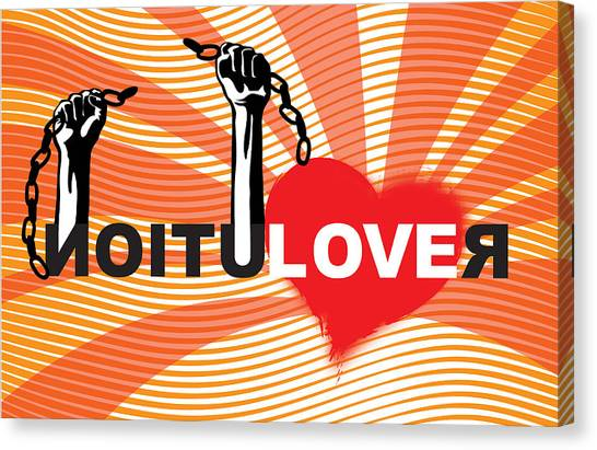Racism Canvas Print - Graffiti Style Illustration Slogan Love Revolution by Sassan Filsoof