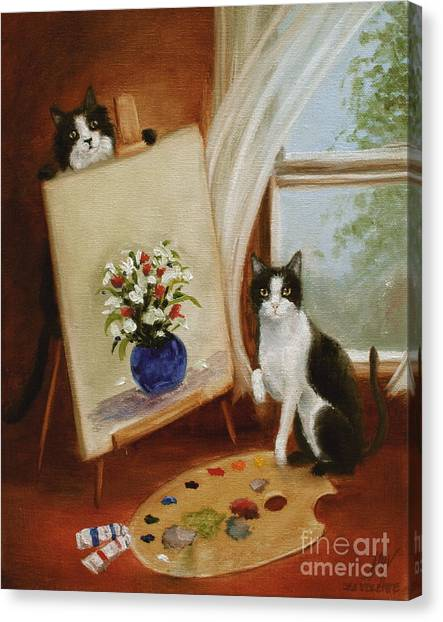 Graham's Cats The Artists Canvas Print by Stella Violano