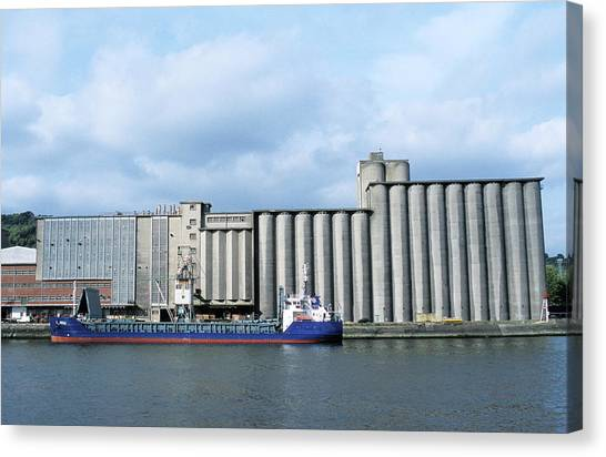 Warehouses Canvas Print - Grain Silos by Pascal Goetgheluck/science Photo Library