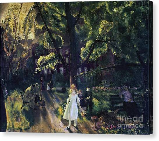 Jump Rope Canvas Print - Gramercy Park by George Wesley Bellows