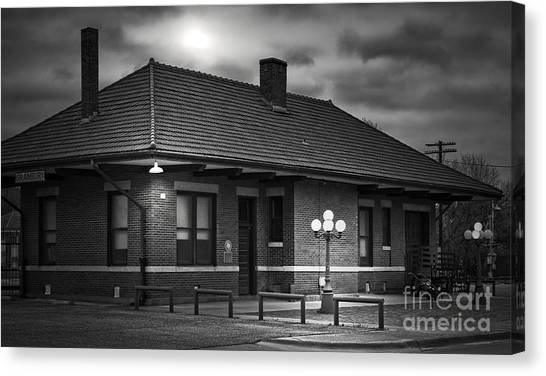 Train Conductor Canvas Print - Train Depot At Night - Noir by Robert Frederick