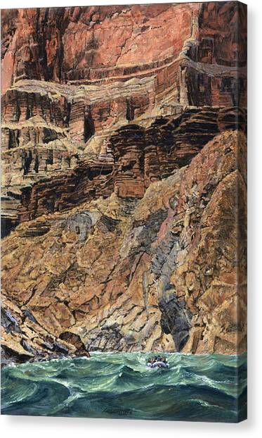 Colorado Rapids Canvas Print - Grand Canyon Cliff And Rafts by Don  Langeneckert