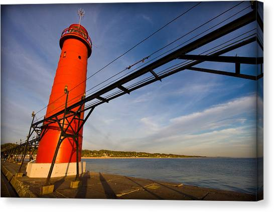 Historic House Canvas Print - Grand Haven Lighthouse by Adam Romanowicz
